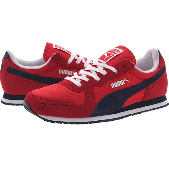 puma red and blue shoes